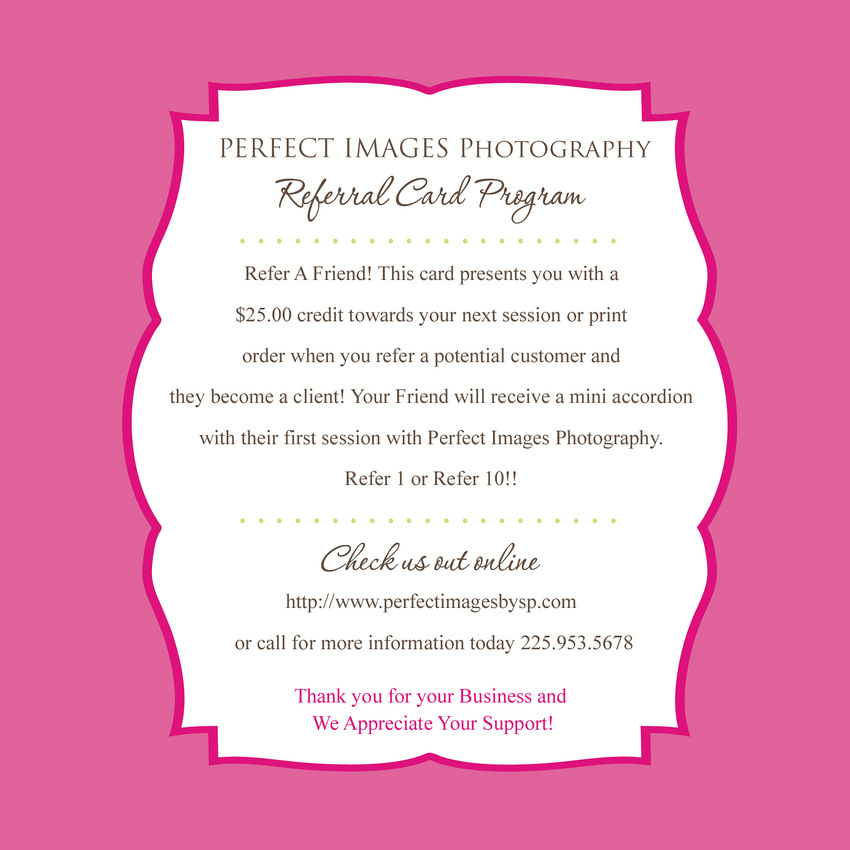 Perfect Images Photography | Referral Program